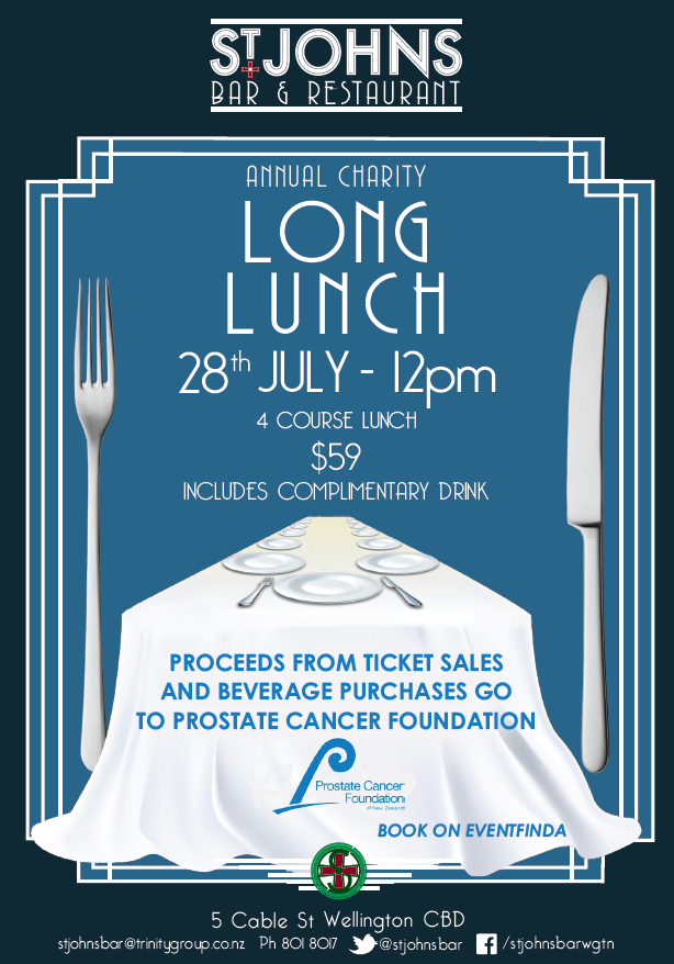 St Johns Bar & Restaurant Annual Charity Long Lunch @ St Johns Bar & Restaurant | Wellington | Wellington | New Zealand